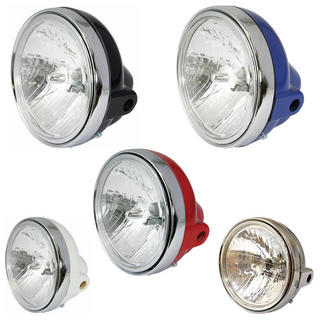 View Item Bike It Universal Round Motorcycle Headlight