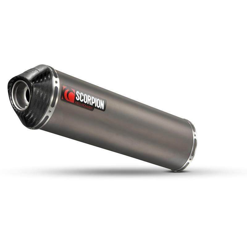 Scorpion Factory Satin Titanium Oval Exhaust Carbon Outlet Aprilia RSV4 09>Current