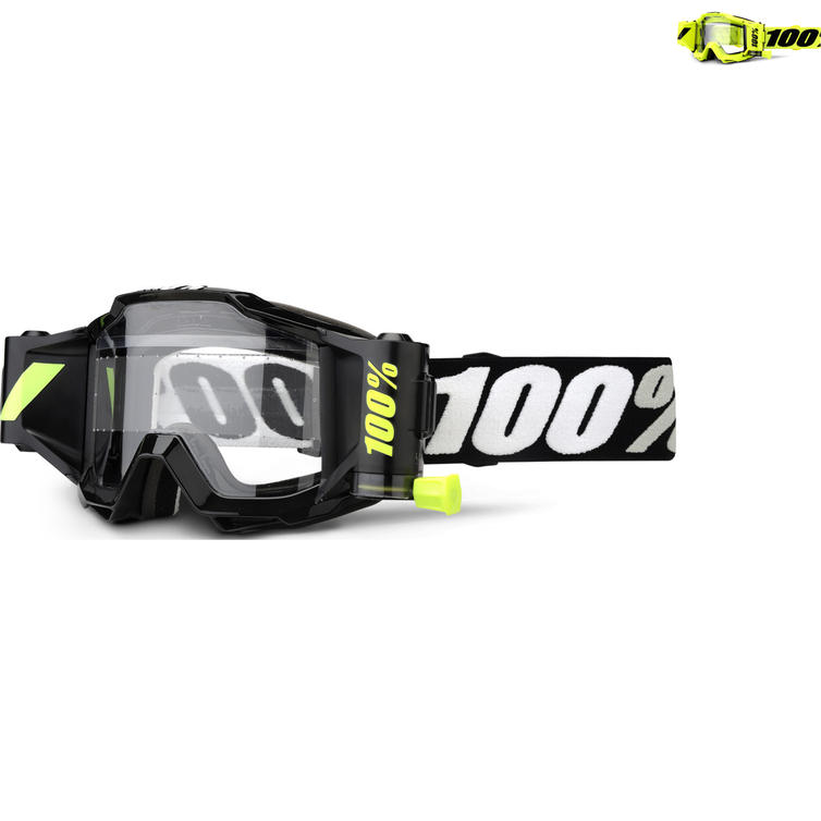 100% Accuri Forecast Clear Roll-Off Motocross Goggles