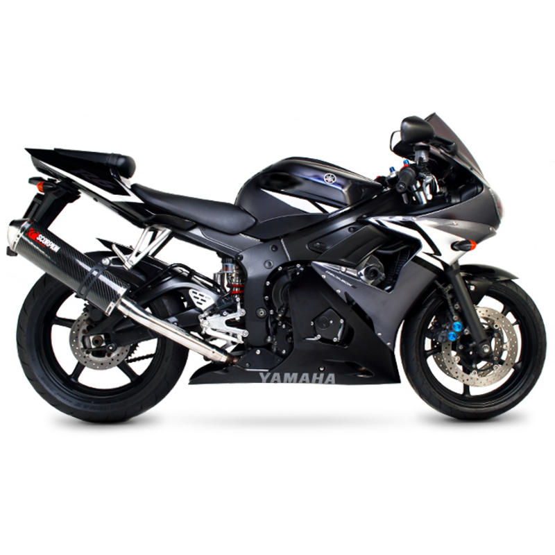 Scorpion factory satin titanium round exhaust carbon for Best exhaust system for yamaha r6