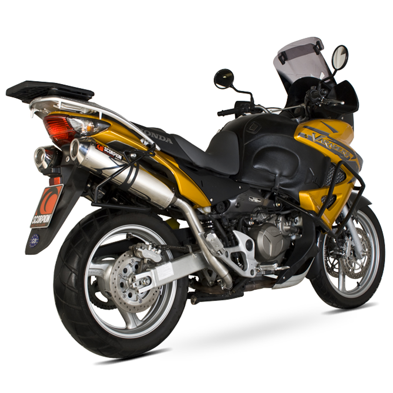 honda xl 1000 v varadero 98 current scorpion factory stainless oval bike exhaust ebay. Black Bedroom Furniture Sets. Home Design Ideas