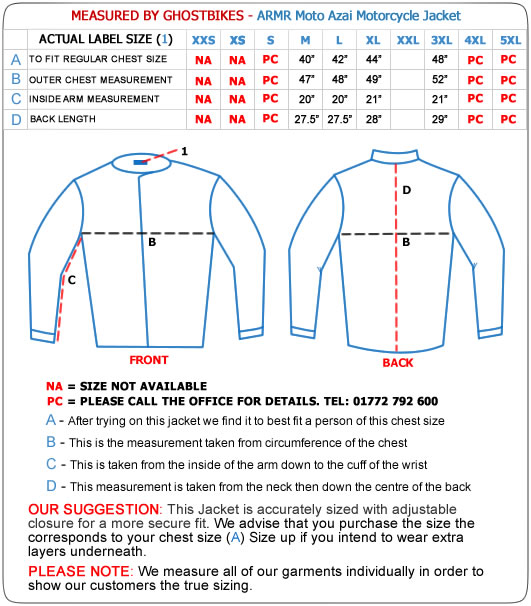 Armr Moto Azai Motorcycle Jacket Size Guide
