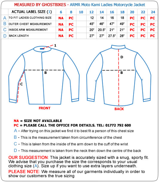 Armr Moto Kami Ladies Motorcycle Jacket Size Guide