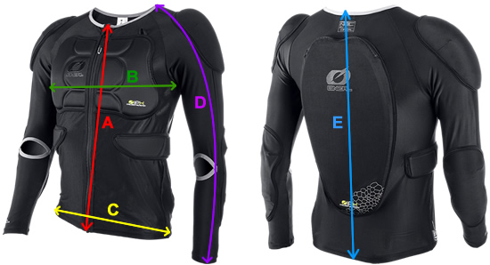 Oneal BP Protector Top Sizing Guide