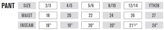 O'Neal Kids' MX Pants Sizing Guide