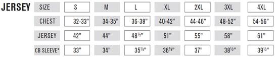 Protector Jacket Size Guide
