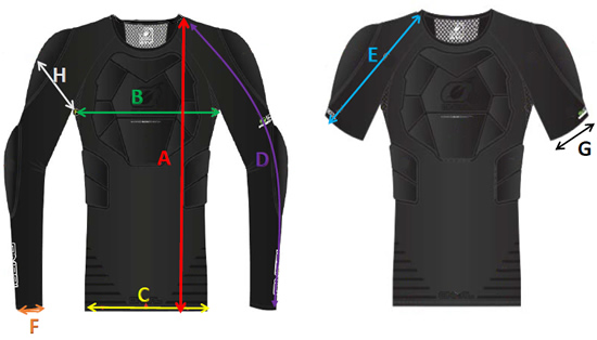 Oneal STV and Impact Lite Protector Shirt Sizing Guide