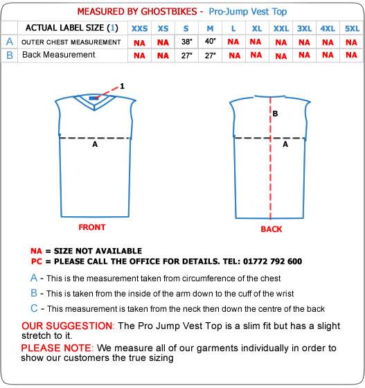 Pro-Jump Vest Top Size Guide