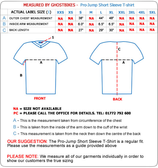 Pro-Jump Short Sleeve T-Shirt Size Guide