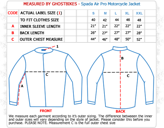 Spada Air Pro Motorcycle Jacket Size Guide