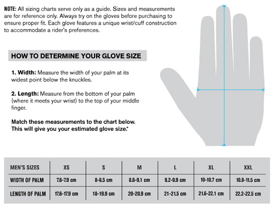 Thor Men's MX Glove Sizing Guide