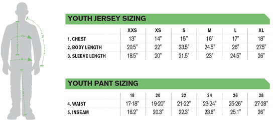 Thor Youth Racewear Size Guide