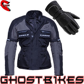 Black Tourmaster Motorcycle Jacket Grey (Free Gloves)