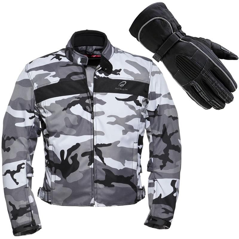 Black and white camo coat