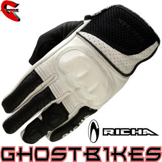 View Item Richa Jaw Short Leather Motorcycle Gloves - White