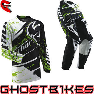View Item Thor Phase S13 Youth Splatter Green Motocross Kit