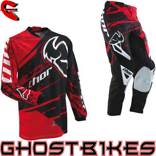 View Item Thor Phase S13 Youth Splatter Red Motocross Kit