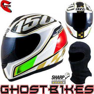 View Item MT Thunder Italian Motorcycle Helmet White (Free Balaclava)