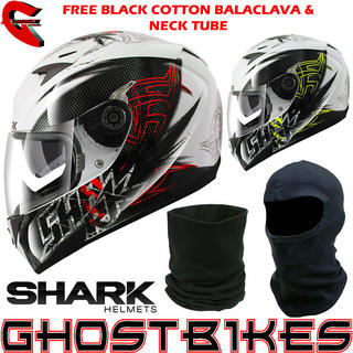 View Item Shark S900-C Finks Motorcycle Helmet + FREE Balaclava + Neck Tube