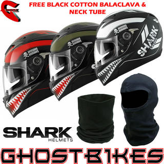 View Item Shark S700-S Legion Motorcycle Helmet + FREE Balaclava + Neck Tube