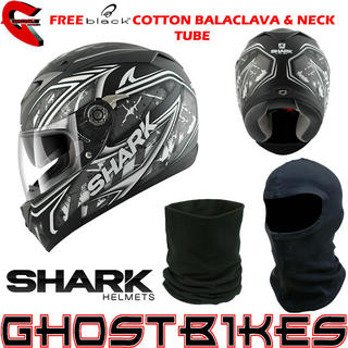 View Item Shark S700-S Jost Lumi Motorcycle Helmet + FREE Balaclava + Neck Tube