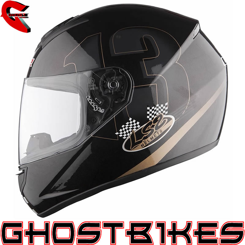 2013 LS2 FF351 POKER FULL FACE ACU GOLD RACING MOTORCYCLE HELMET