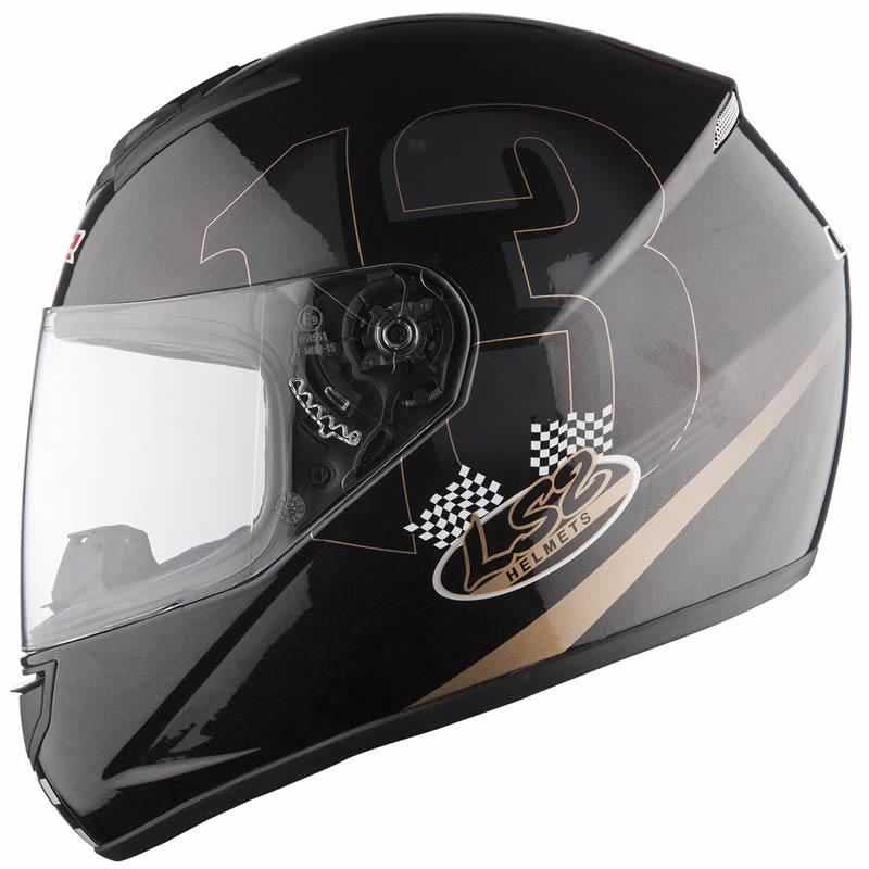 2013 LS2 FF351 POKER FULL FACE ACU GOLD RACING MOTORCYCLE HELMET