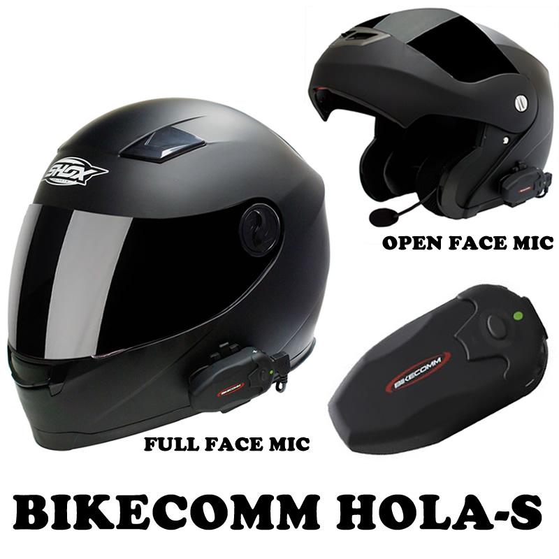 bikecomm hola s intercom motorcycle waterproof bluetooth helmet system headset ebay. Black Bedroom Furniture Sets. Home Design Ideas