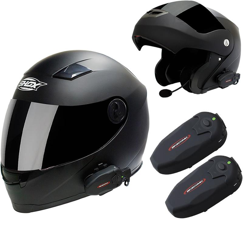 bikecomm hola s intercom motorcycle waterproof bluetooth helmet headset duo pack ebay. Black Bedroom Furniture Sets. Home Design Ideas