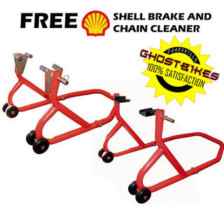 View Item Biketek Front and Rear Paddock Stand + FREE Shell Brake Cleaner