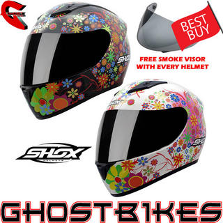 Shox Axxis Floral Motorcycle Helmet + FREE Smoke Visor