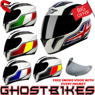 View Item Shox Axxis Identity Motorcycle Helmet + FREE Smoke Visor