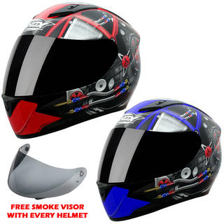 View Item Shox Axxis Powerhouse Motorcycle Helmet + FREE Smoke Visor