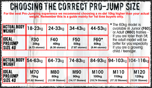 Junior F-Series and Adult M-Series Pro-Jump Bouncing Stilt Size Guide