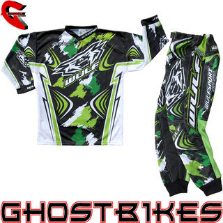 View Item Wulfsport 2013 Stratos Cub Green Junior Motocross Kit