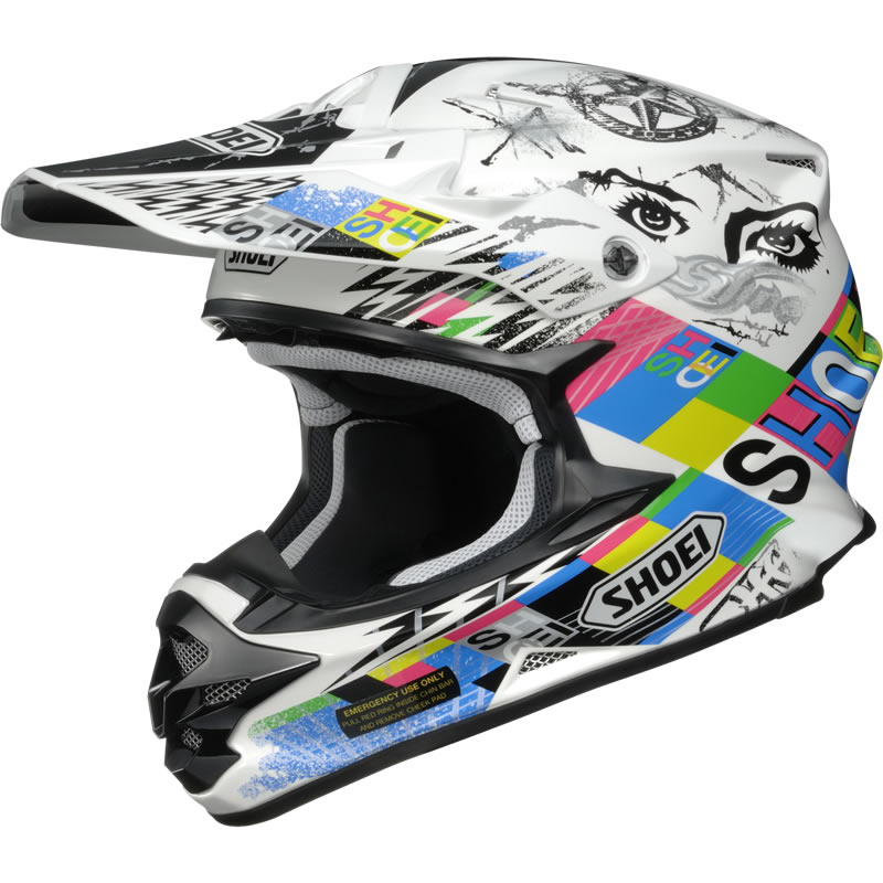 shoei vfx w krack white motocross helmet tc 10 mx racing acu gold enduro ebay. Black Bedroom Furniture Sets. Home Design Ideas