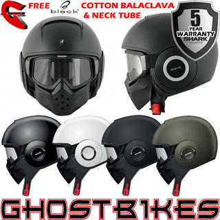 View Item Shark Raw Blank Motorcycle Helmet + Free Balaclava + Neck Tube