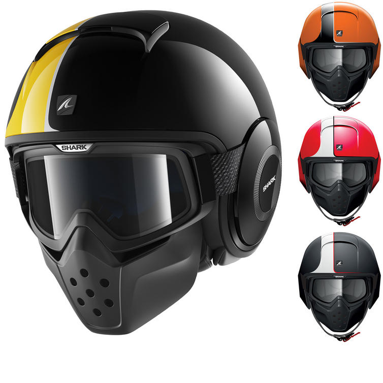 Shark Raw Stripe Open Face Motorcycle Helmet