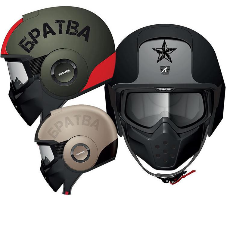 Shark Raw Soyouz Motorcycle Helmet + Free Balaclava + Neck Tube