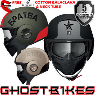 View Item Shark Raw Soyouz Motorcycle Helmet + Free Balaclava + Neck Tube