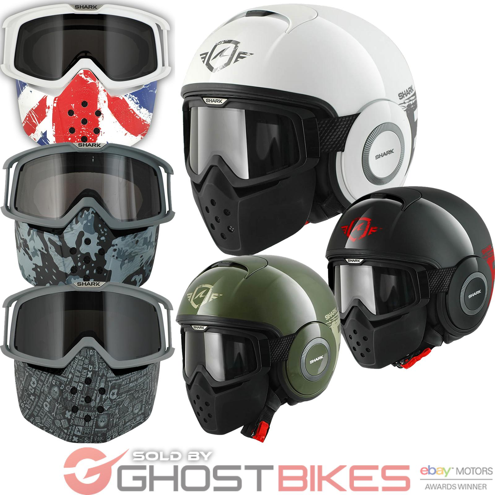 10ecd118ba5 Shark Raw Trinity Motorcycle Helmet Plus Goggle   Mask Kit Open Face ...