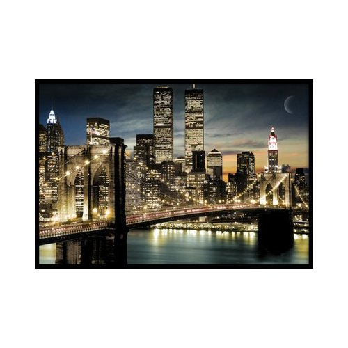 brooklyn bridge manhattan lights moon night new york photo poster 61 x 91 5 cm ebay. Black Bedroom Furniture Sets. Home Design Ideas
