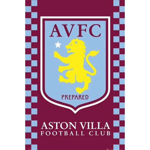 Aston villa fc club crest badge official large football poster 61 x 91
