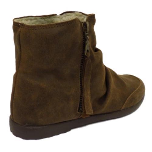 womens brown italian leather fleece lined flat boho zip up