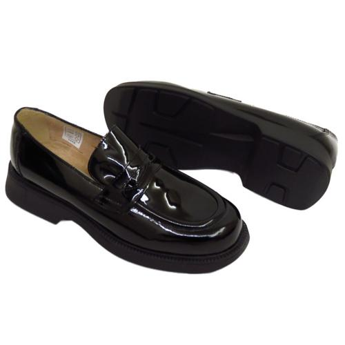 womens black patent leather loafers slip on flat brogues
