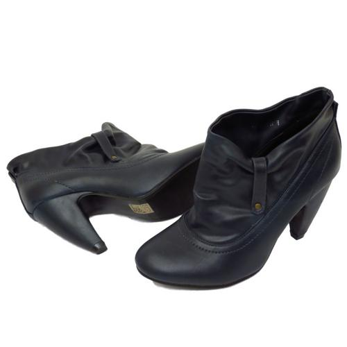 LADIES SLIP-ON RUCHED WOMENS SLOUCH ROUND-TOE ANKLE BOOTS SHOES ...