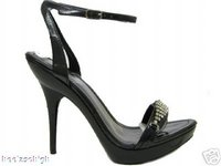 View Item LADIES BLACK DIAMANTE PLATFORM SANDALS SHOES  