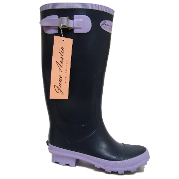 NAVY JANE AUSTIN WELLIES RUBBER WELLINGTON BOOTS  Preview
