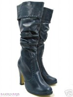 View Item BLUE RUCHED SKINNY FIT FOLD - DOWN PIRATE BOOTS  