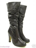 View Item GREEN RUCHED SKINNY FIT FOLD - DOWN PIRATE BOOTS   